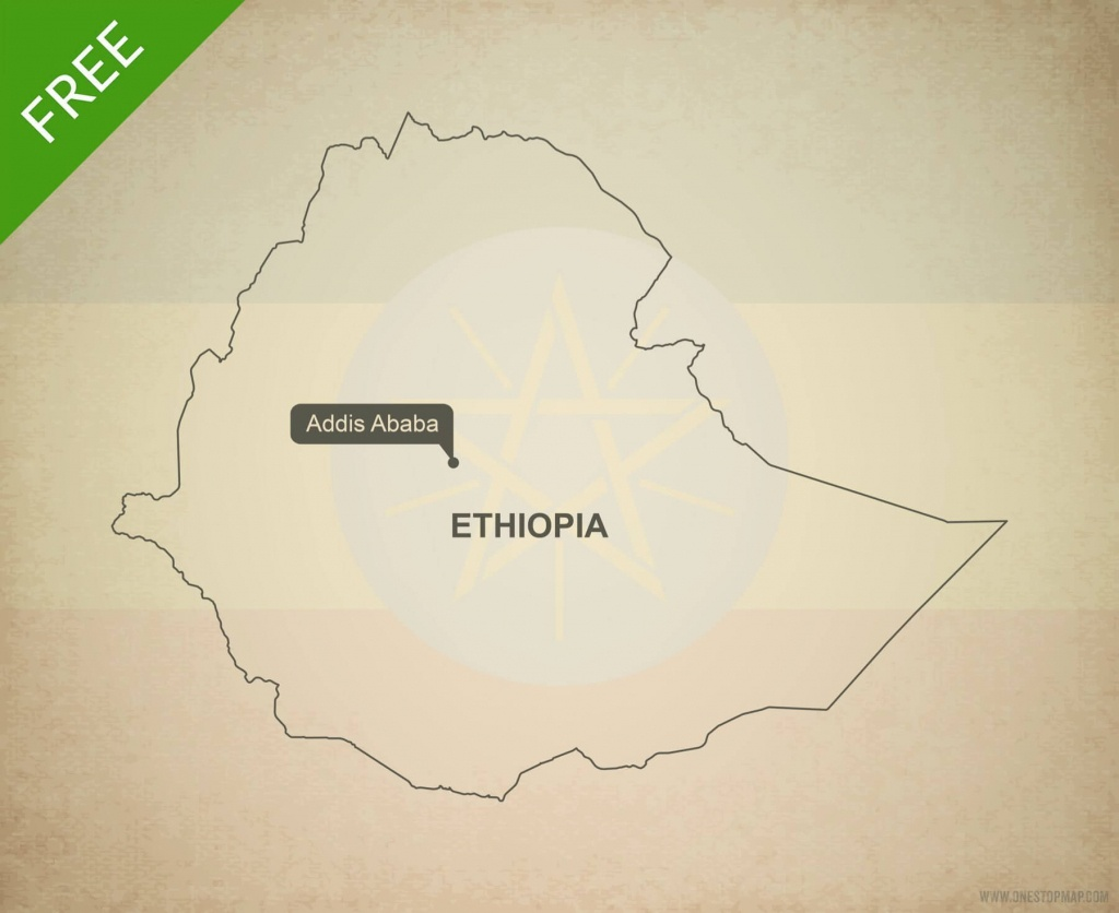 Free Vector Map Of Ethiopia Outline   One Stop Map - Printable Map Of Ethiopia