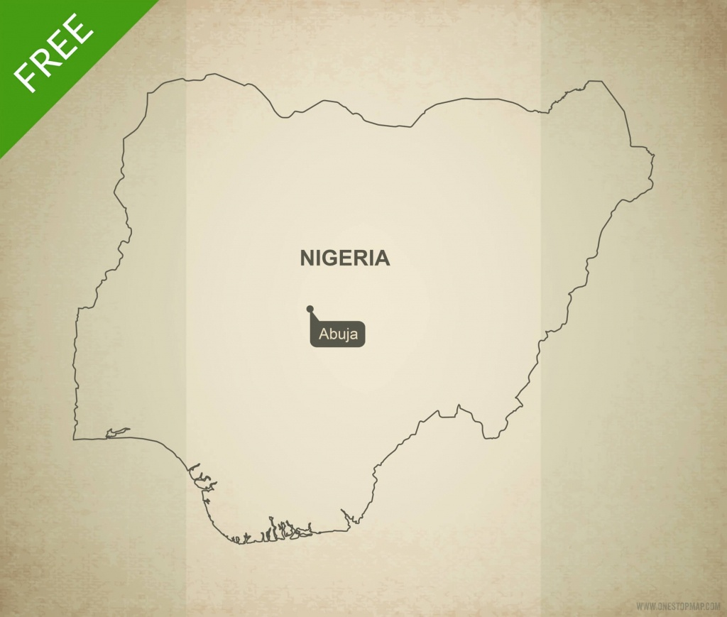 Free Vector Map Of Nigeria Outline | One Stop Map - Printable Map Of Nigeria