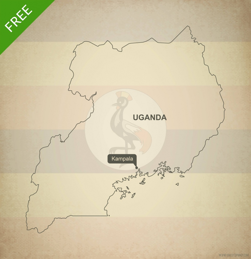 Free Vector Map Of Uganda Outline | One Stop Map - Printable Map Of Uganda