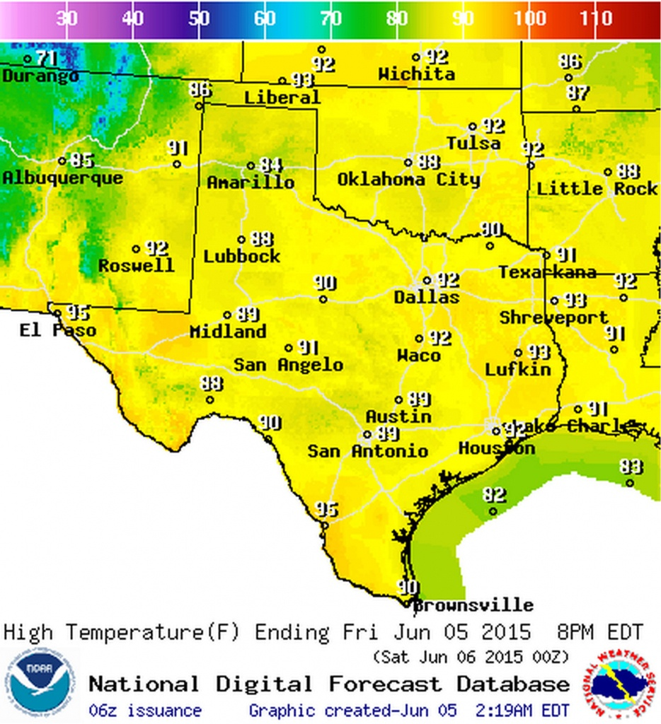 Friday June 5, 2015 | Texas Weather Roundup + Forecast • Texas Storm - Texas Weather Map