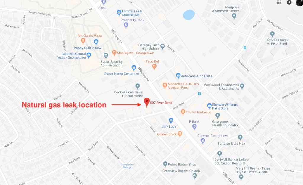 Gas Leak Forces Evacuation Of 40 Georgetown Homes And Businesses On - Google Maps Magnolia Texas