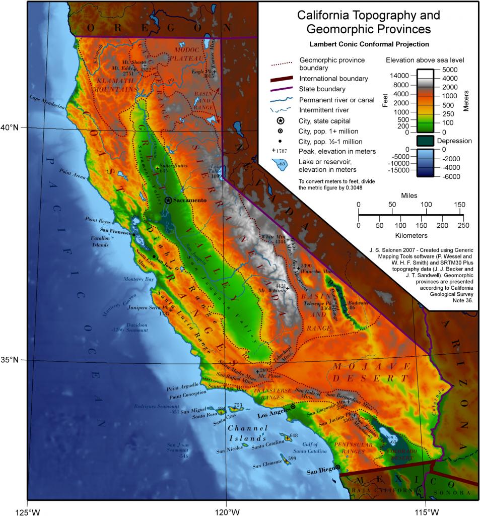 Geography Of California - Wikipedia - California Topographic Map