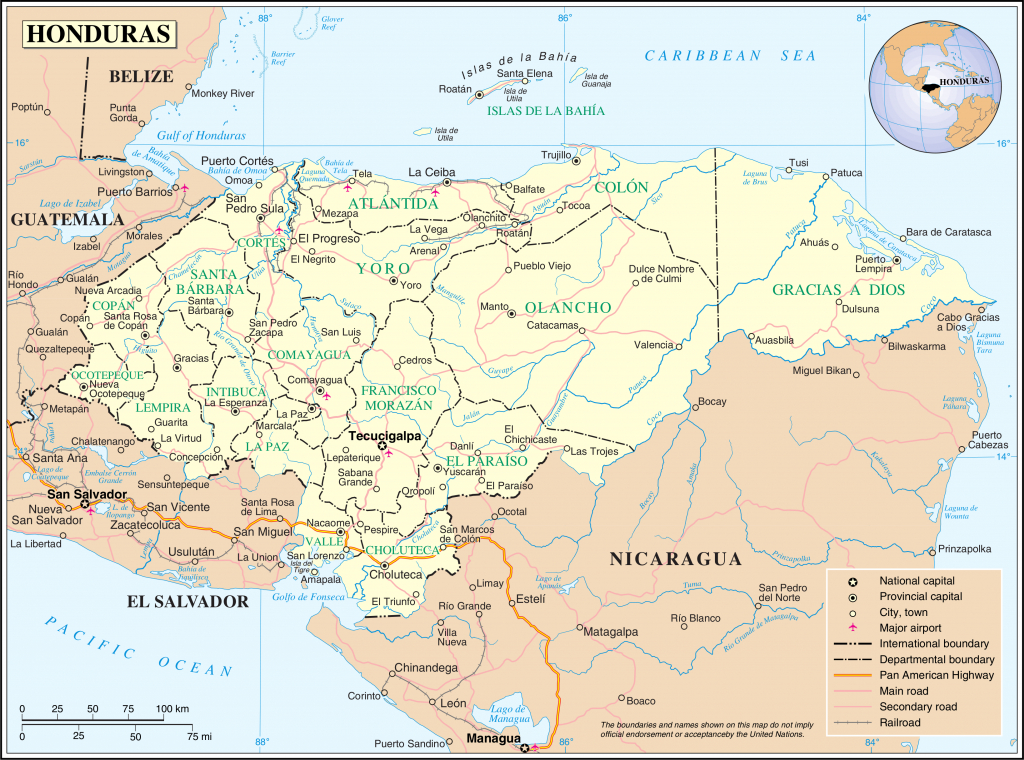 Geography Of Honduras - Wikipedia - Printable Map Of Honduras