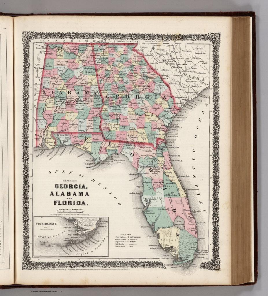 Georgia, Alabama, And Florida. - David Rumsey Historical Map Collection - Map Of Alabama And Florida