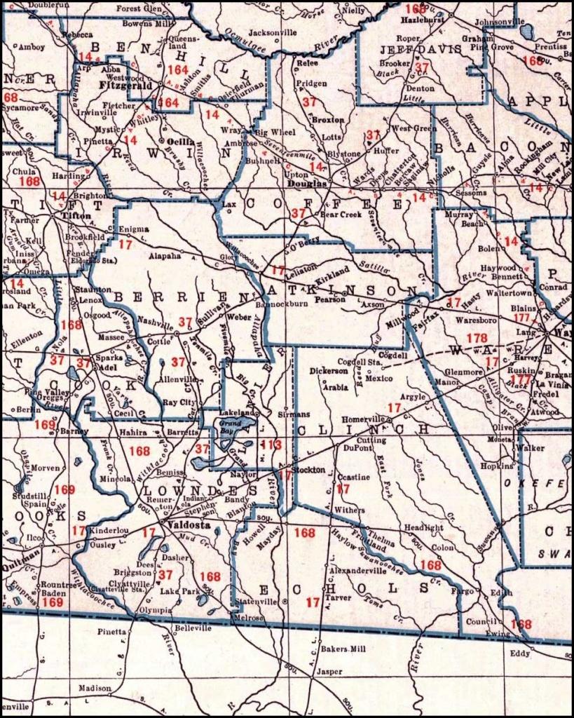 Georgia & Florida Railroad, 1926 Map, Madison, Fla. To Hazlehurst, Ga. - Madison Florida Map