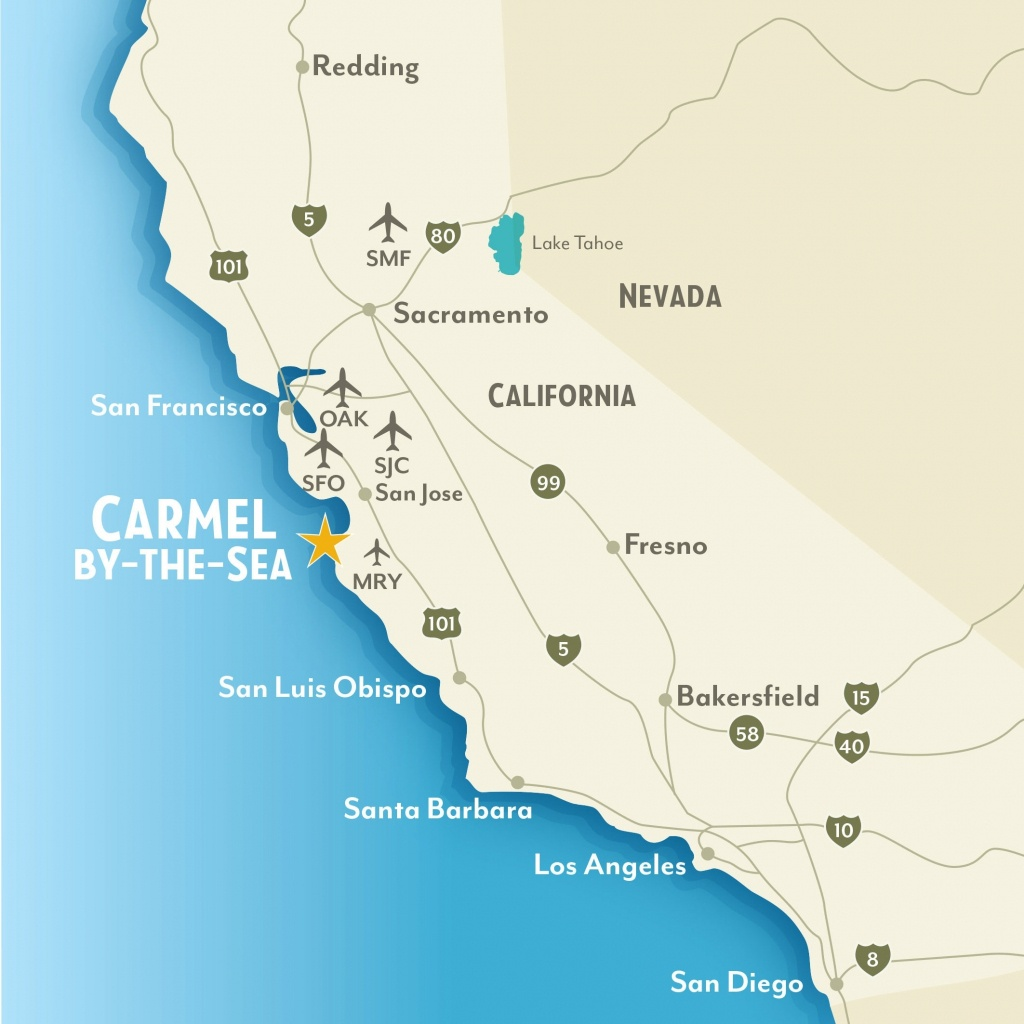 Getting To & Around Carmel-By-The-Sea, California Regarding Map Of - Carmel California Map