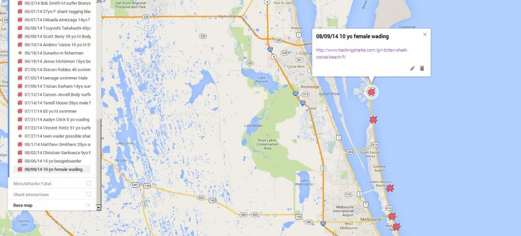 Girl Bittenshark In Cocoa Beach Fl – Tracking Sharks - Cocoa Beach Florida Map