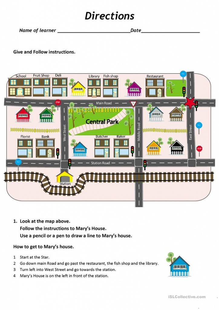 Give And Follow Directions On A Map Worksheet - Free Esl Printable - Free Printable Map Worksheets