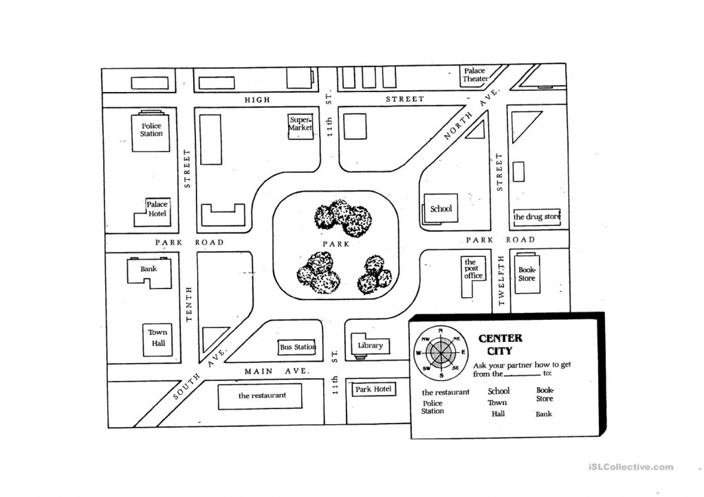 Giving Directions Student Map Worksheet - Free Esl Printable - Printable Map Directions