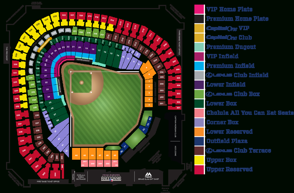 Globe Life Park Seating Map | Mlb | Random Things I'd Want To - Texas Rangers Ballpark Seating Map