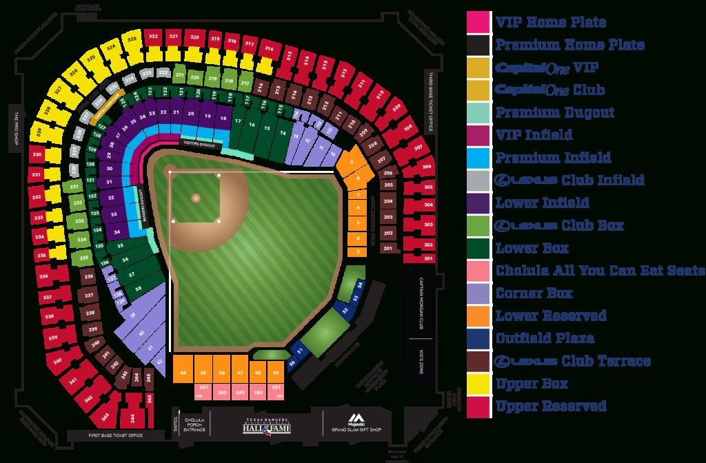 Globe Life Park Seating Map   Mlb   Random Things I'd Want To - Texas Rangers Season Ticket Parking Map
