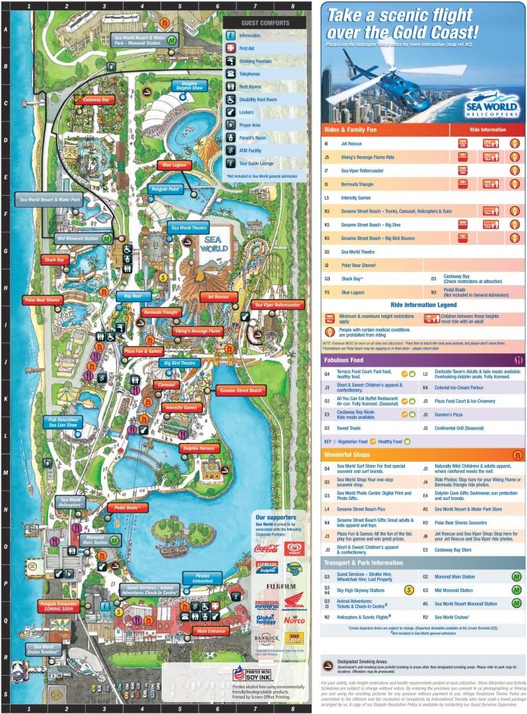 Gold Coast Sea World Park Map - Printable Sea World Map