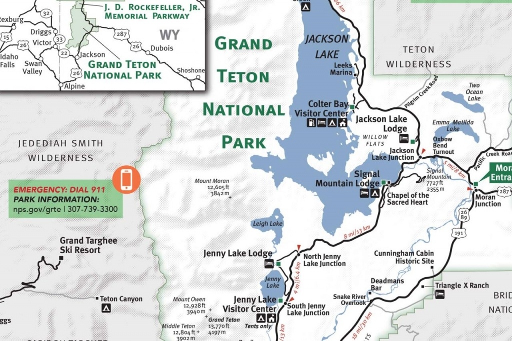 Grand Teton & Yellowstone National Park Map - Jackson Hole Traveler - Free Printable Map Of Yellowstone National Park