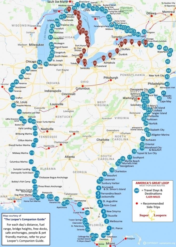 Great Loop Route Distance - Texas Navigable Waterways Map