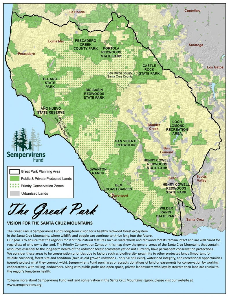 Great Park Map - Santa Cruz Mountains | Sempervirens Fund - Where Is The Redwood Forest In California On A Map