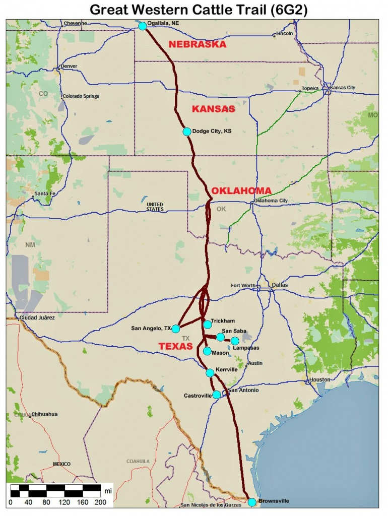 Great Western Cattle Trail Map   Home Town Oklahoma   Trail Maps - Texas Cattle Trails Map