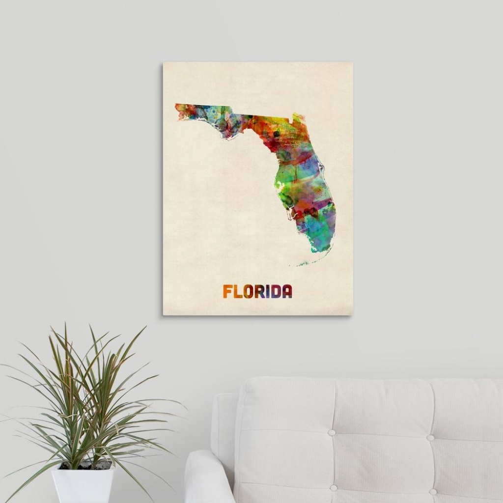 "Greatbigcanvas ""florida Watercolor Map""michael Tompsett Canvas - Map Of Florida Wall Art"
