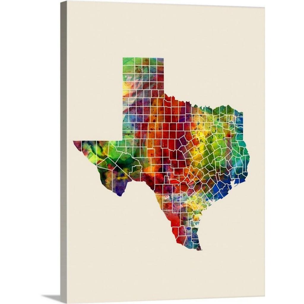"Greatbigcanvas ""texas Watercolor Map""michael Tompsett Canvas - Texas Map Canvas"