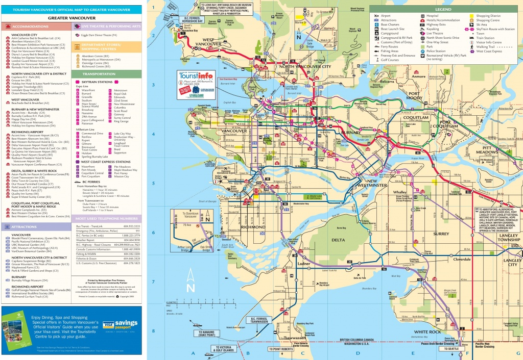 Greater Vancouver Tourist Map - Printable Map Of Vancouver