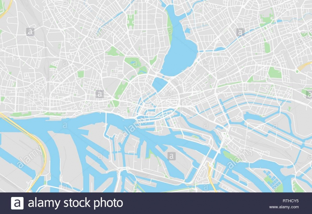 Hamburg, Germany Printable Street Map In Classic Style Colors With - Printable Map Of Hamburg