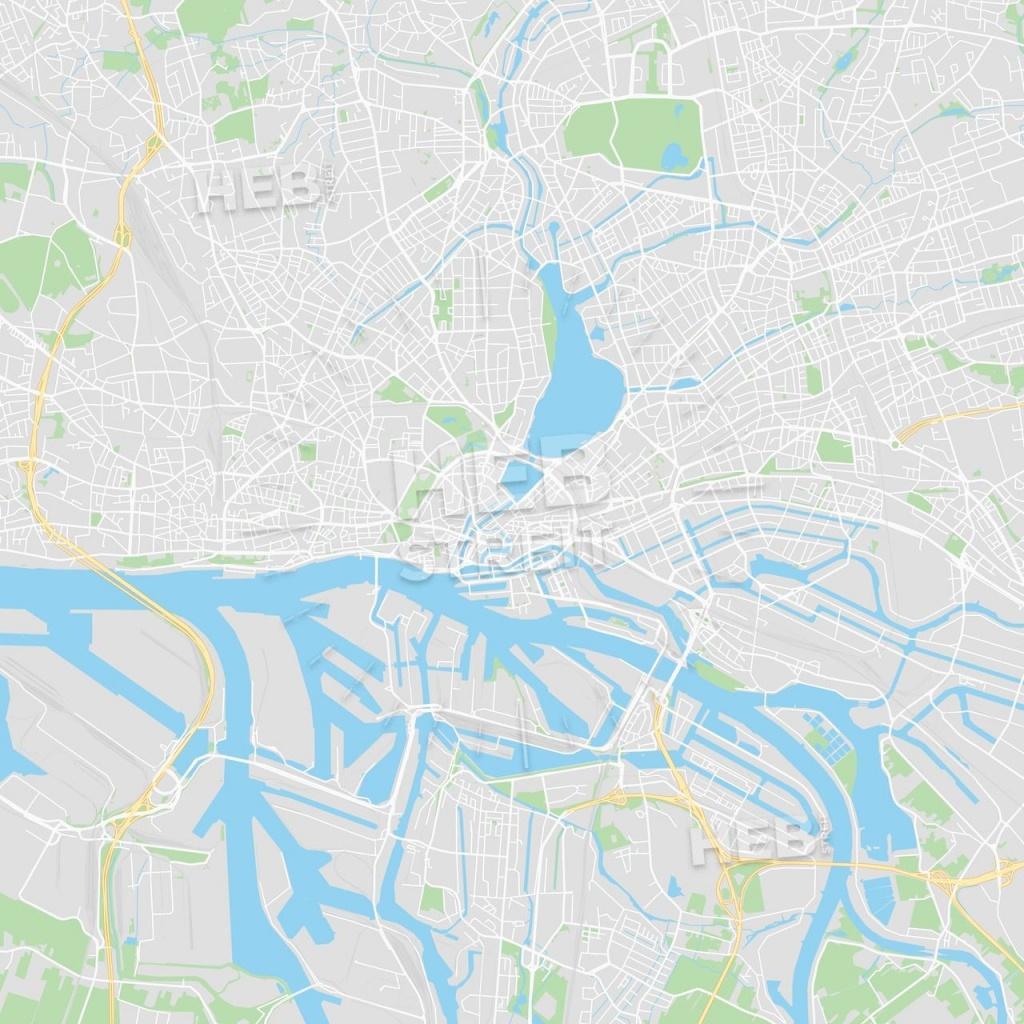 Hamburg, Germany Printable Street Map | Maps Vector Downloads | Map - Printable Map Of Hamburg