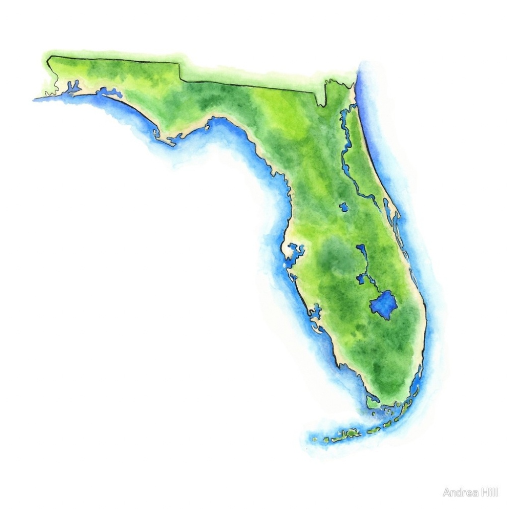 "Hand Painted Watercolor Map Of The Us State Of Florida ""andrea - Watercolor Florida Map"