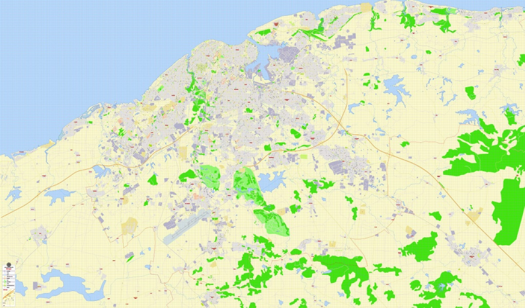 Havana Pdf Map, Cuba, Exact Vector Street G-View Plan City Level 17 - Havana City Map Printable