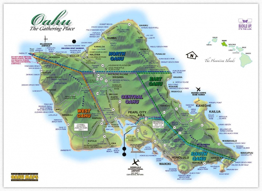 Hawaii Maps: Oahu Island Map - This Highly Detailed Rental Car Road - Big Island Map Printable