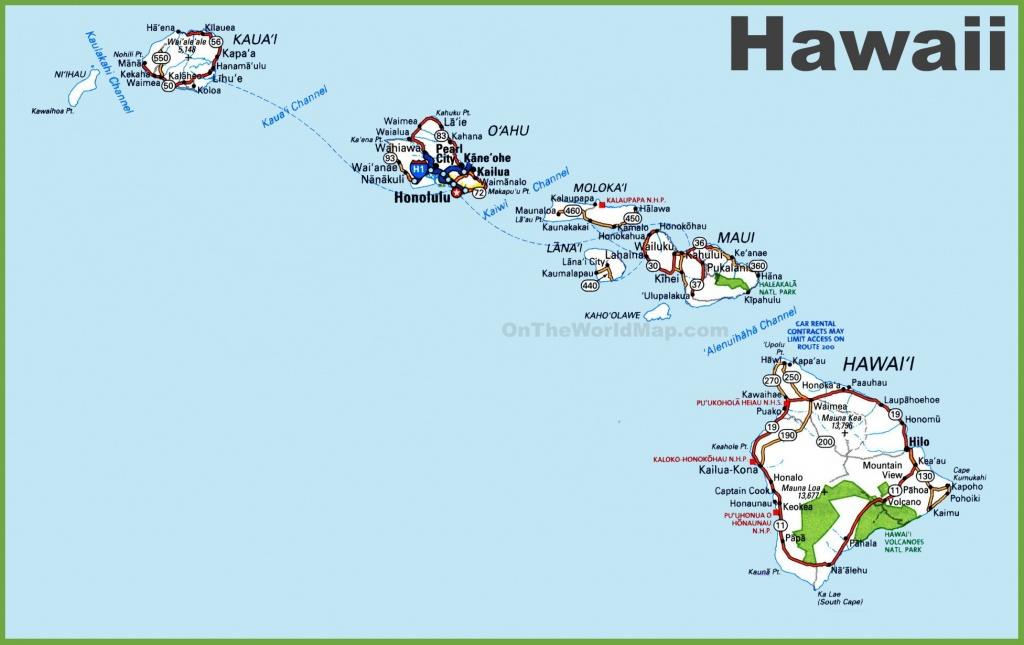Hawaii Road Map - Printable Map Of Hawaii