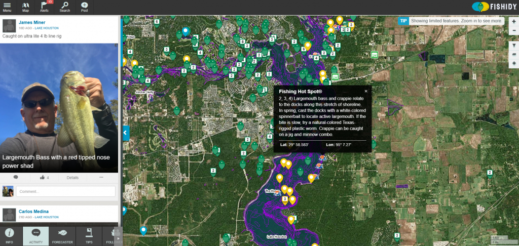 Head Straight To The Fishing Hot Spots On Lake Houston With Help - Texas Fishing Hot Spots Maps