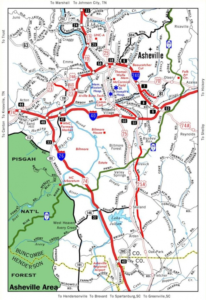 Helpful Travel Map Of Asheville. Stay In The Mountains Nearby At - Printable Map Of Downtown Asheville Nc