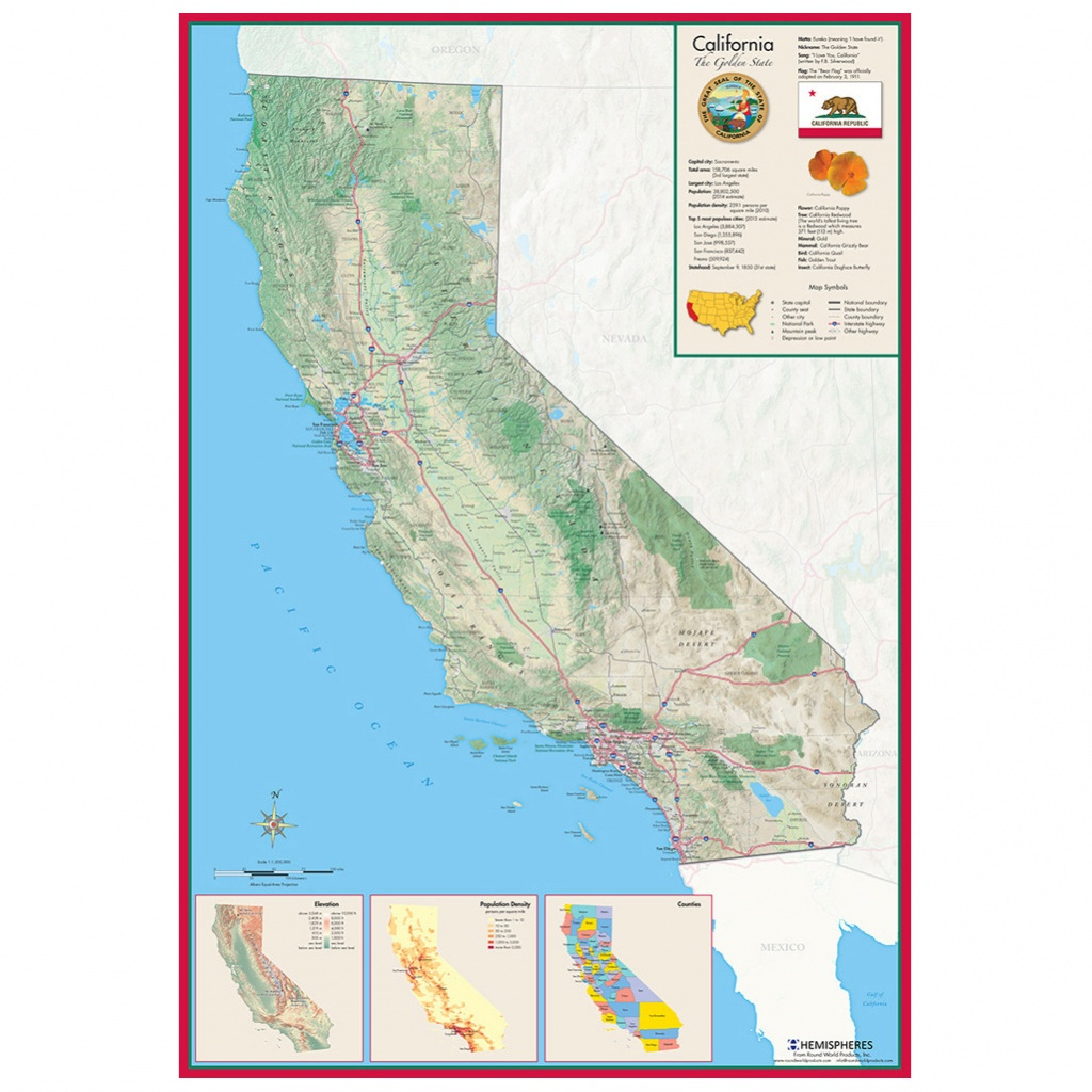 Hemispheres California Wall Map » Round World Products - Laminated California Wall Map