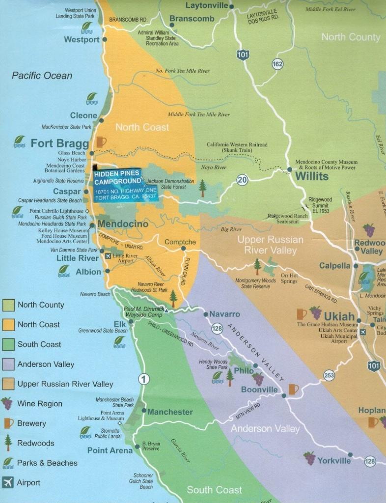 Hidden Pines Rv Campground - Fort Bragg California : Maps Fort Bragg - California Rv Camping Map