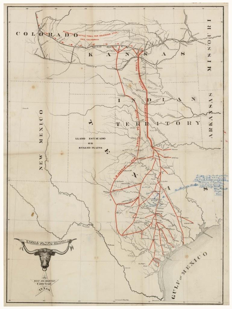 Hide & Horn - Sid Richardson Museum Blog - Texas Cattle Trails Map