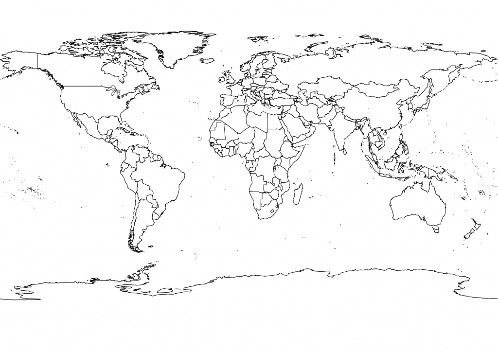 High-Res World Map, Political, Outlines, Black And White | Adventure - World Map Black And White Printable With Countries
