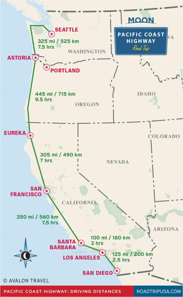 Highway 1 California Road Trip Map | Secretmuseum - Route 1 California Map