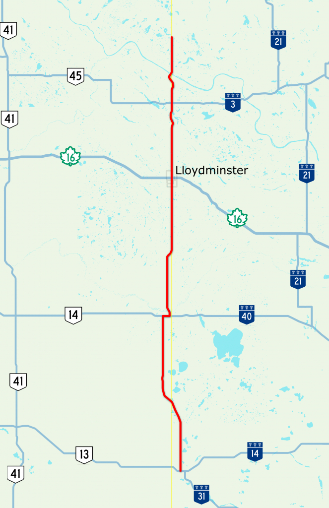 Highway 17 (Alberta–Saskatchewan) - Wikipedia - Printable Alberta Road Map