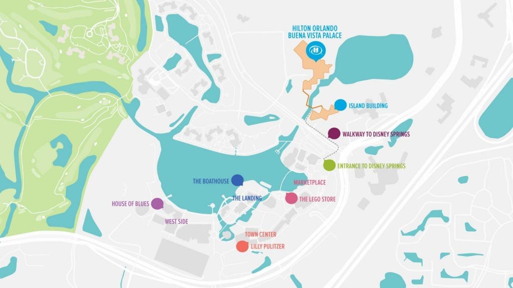 Hilton Orlando Buena Vista Palace - Disney Springs®   Walt Disney - Map Of Lake Buena Vista Florida Hotels