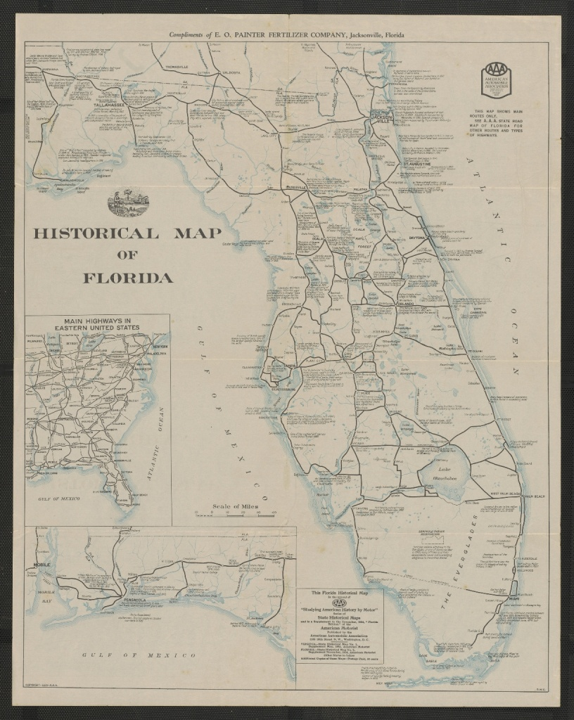 Historical Map Of Florida - Touchton Map Library - Aaa Maps Florida