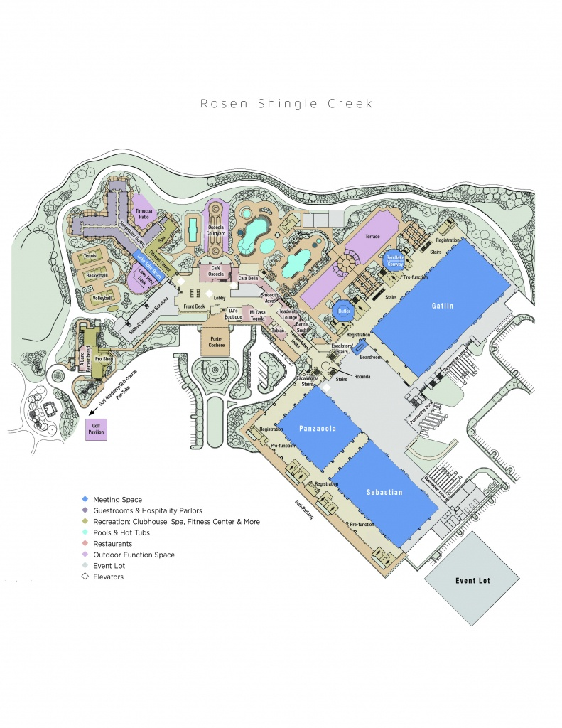 Hotel Map | Rosen Shingle Creek® - Map Of Hotels In Orlando Florida