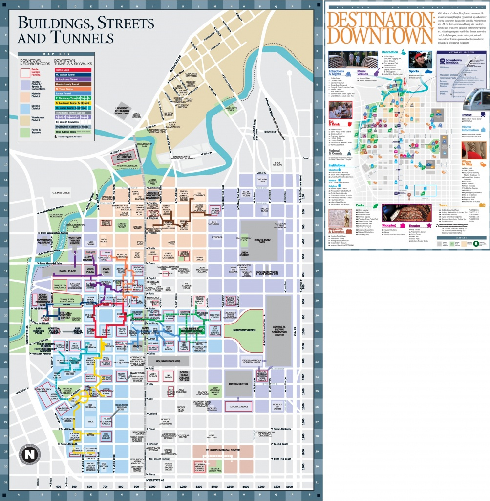 Houston Downtown Hotels And Sightseeings Map - Printable Map Of Houston