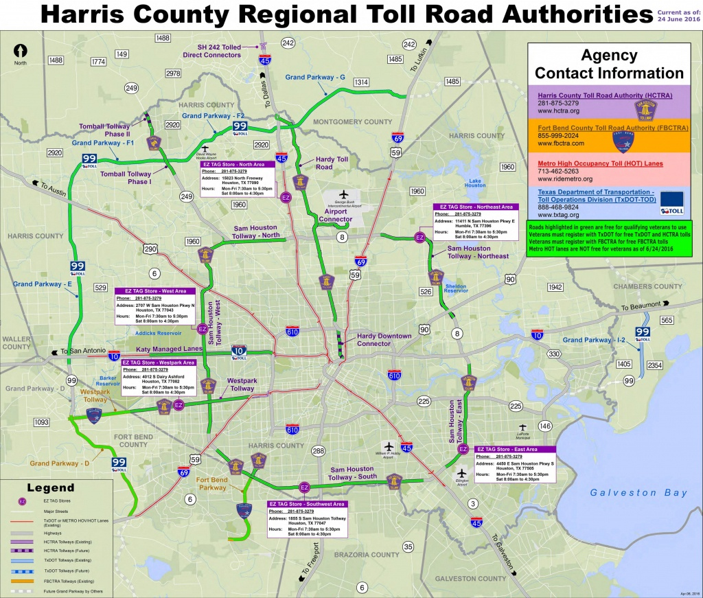 Houston Toll Road Map - Map Of Houston Toll Roads (Texas - Usa) - Road Map Of Houston Texas