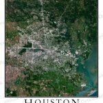 Houston, Tx Area Satellite Map Print | Aerial Image Poster   Texas Map Poster
