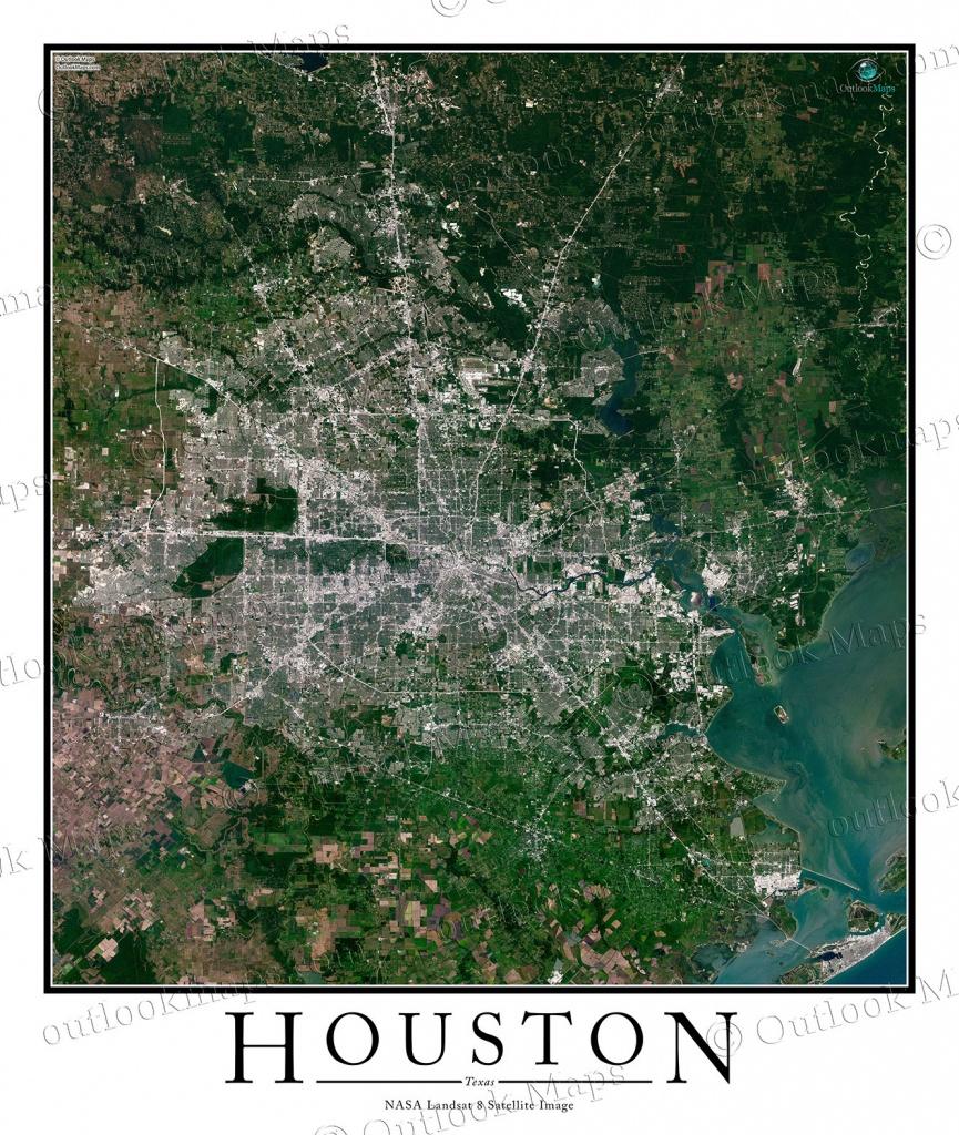Houston, Tx Area Satellite Map Print | Aerial Image Poster - Texas Map Poster
