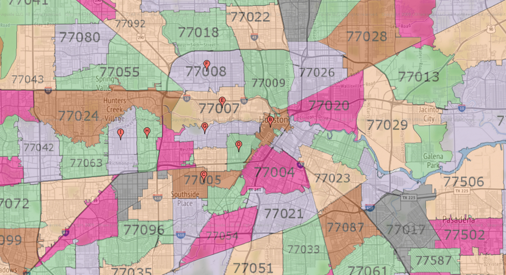 Houston Zip Code Maps   Ameritex Houston Movers - Houston Zip Code Map Printable