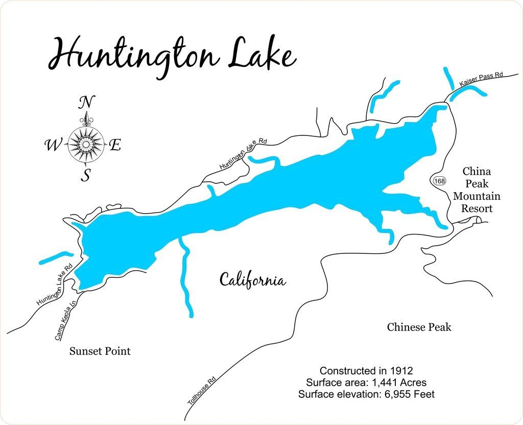 Huntington Lake, California - Wood Laser Cut Map | Huntington Lake - Shaver Lake California Map