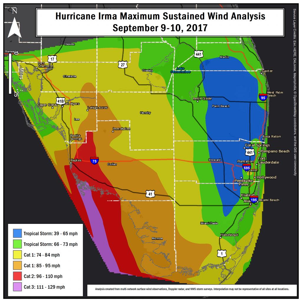 Hurricane Irma Local Report/summary - Florida Wind Speed Map