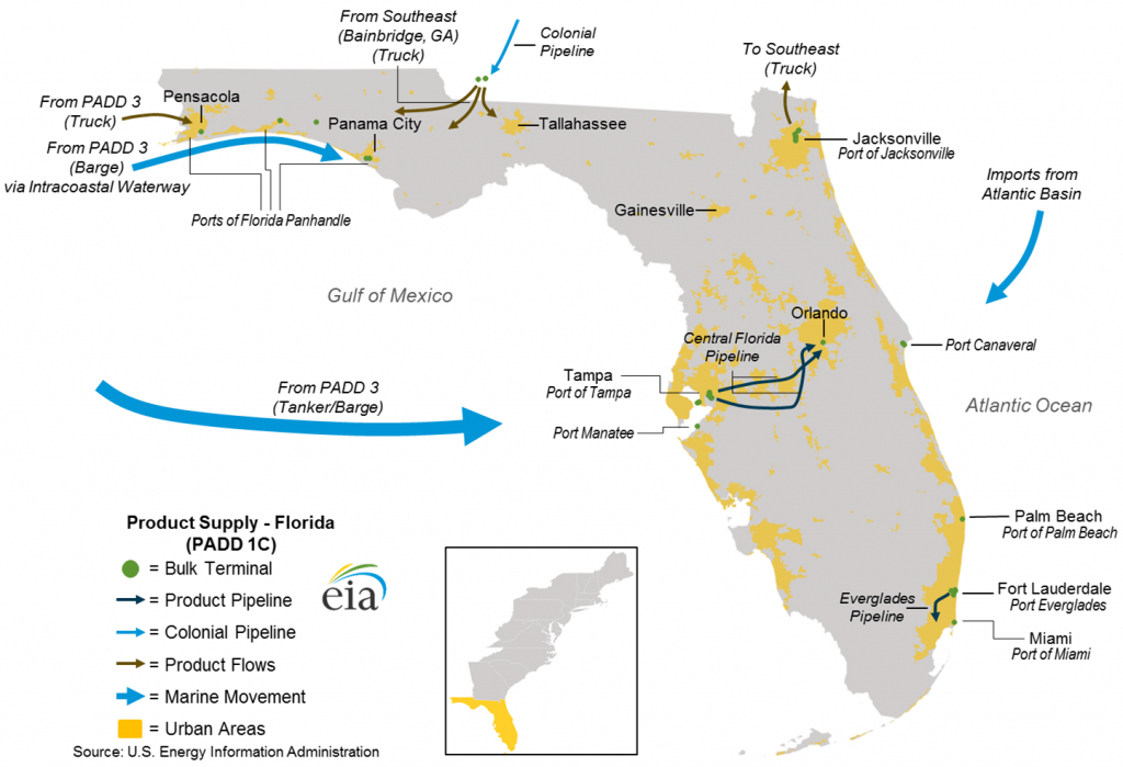Hurricanes Harvey And Irma Lead To Higher Gasoline Prices In Florida - Florida Gas Pipeline Map
