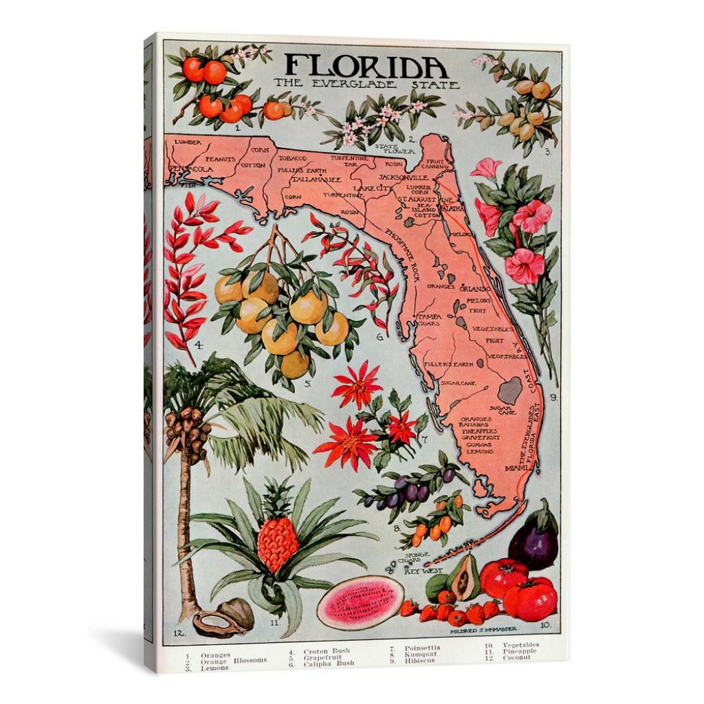 """Icanvas """"state Map Of Florida (Natural Resources)""""vintage Poster - Vintage Florida Map Poster"""