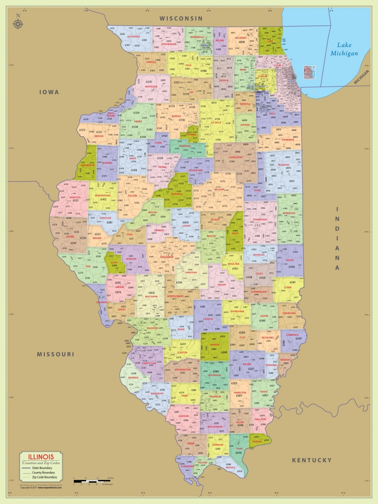 Illinois Zip Code Map With Counties (48″ W X 64″ H) | #worldmapstore - Illinois County Map Printable